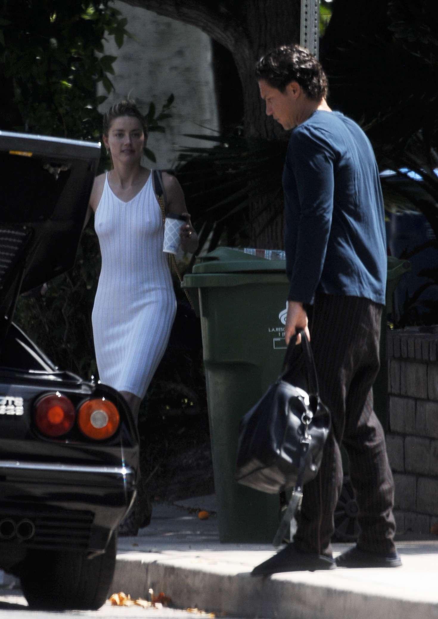 Amber Heard 2018 : Amber Heard in Tight White Dress -05