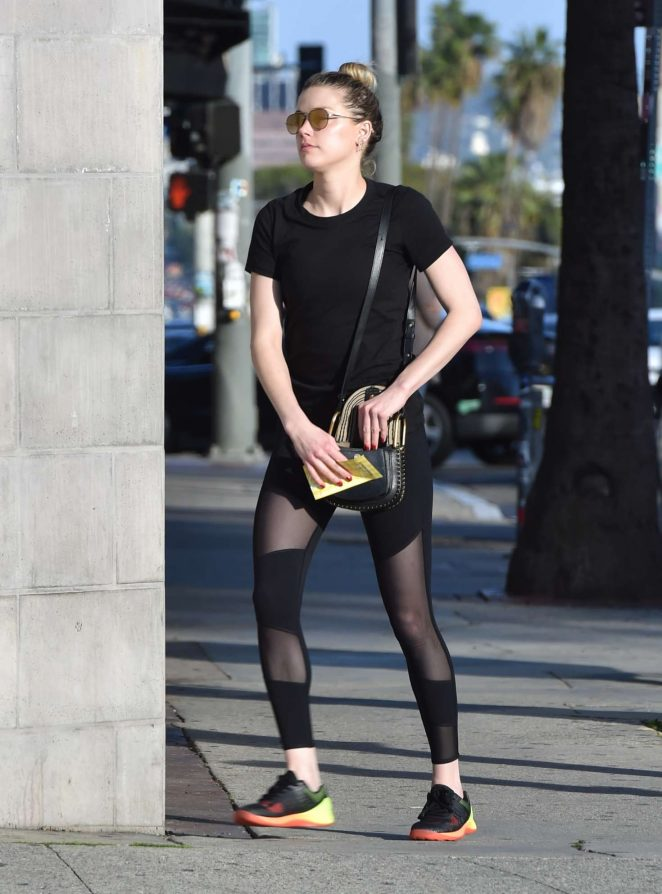 Amber Heard in Tights Leaves UPS Store in West Hollywood