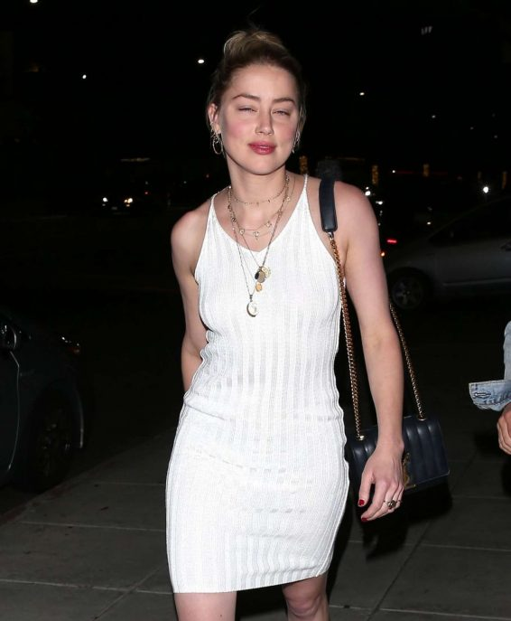 Amber Heard - In white dress At Nobu in Beverly Hills
