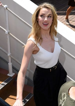 Amber Heard in White Vest and Black Trousers out in Cannes