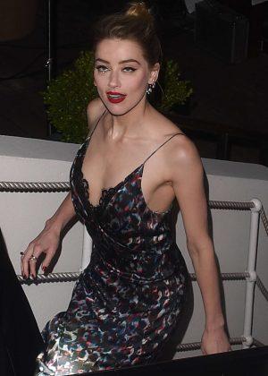 Amber Heard - Leaving a beach club in Cannes