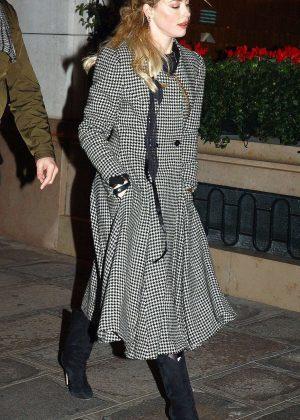 Amber Heard - Leaving the Bristol hotel in Paris
