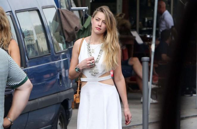 Amber Heard in White Dress -09
