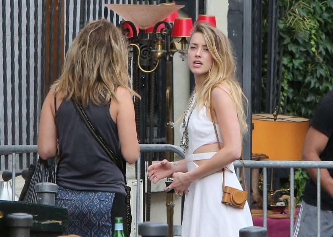 Amber Heard in White Dress -26