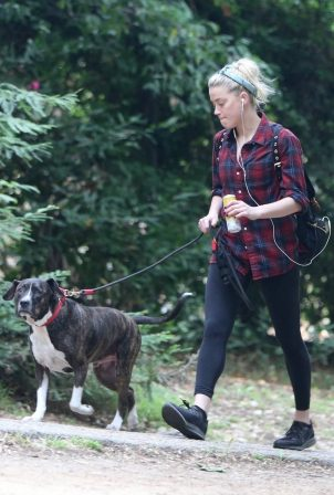 Amber Heard - Out for a hike with her dog in Los Feliz - California