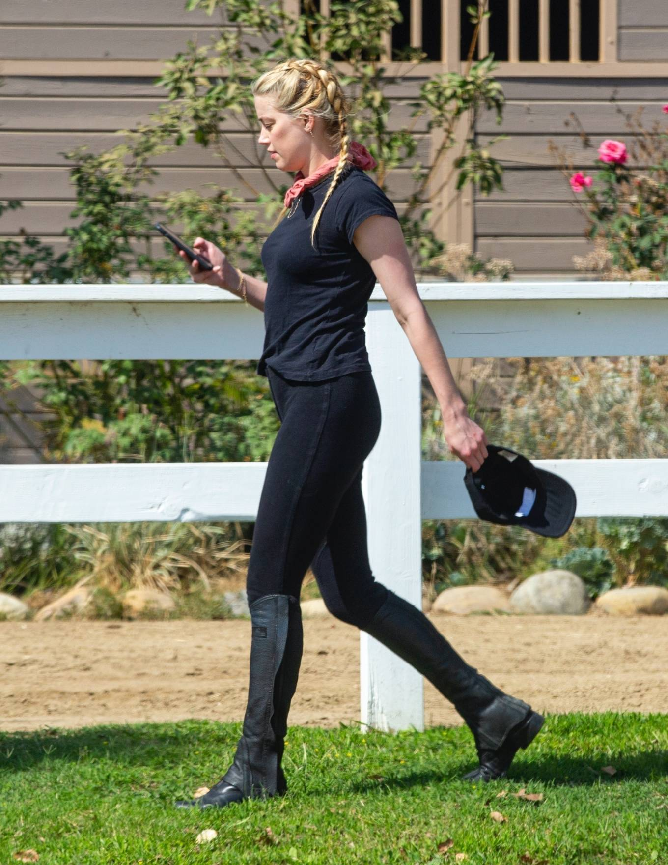 Amber Heard - Pictured horseback riding in Los Angeles
