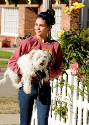 Amber Montana: Walking her dog Elvis -01