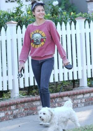 Amber Montana: Walking her dog Elvis -02