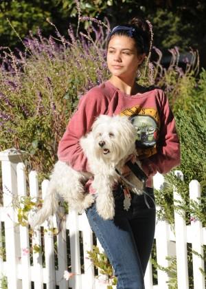 Amber Montana: Walking her dog Elvis -03