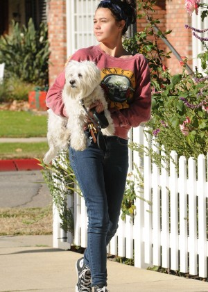 Amber Montana: Walking her dog Elvis -04