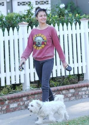 Amber Montana: Walking her dog Elvis -05