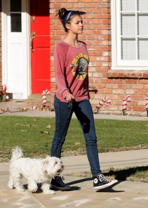 Amber Montana: Walking her dog Elvis -06