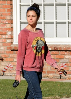 Amber Montana: Walking her dog Elvis -07