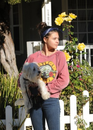 Amber Montana: Walking her dog Elvis -08