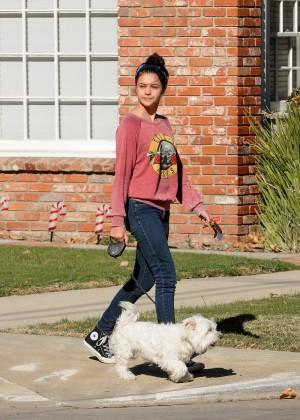 Amber Montana: Walking her dog Elvis -09