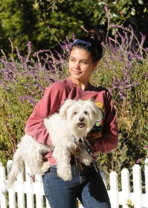 Amber Montana: Walking her dog Elvis -11