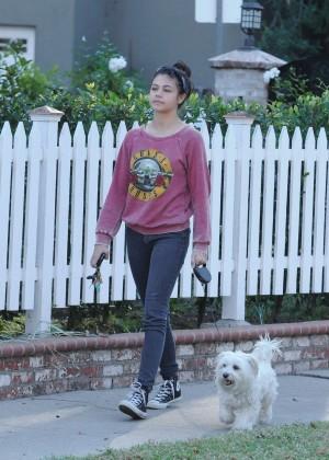 Amber Montana: Walking her dog Elvis -17