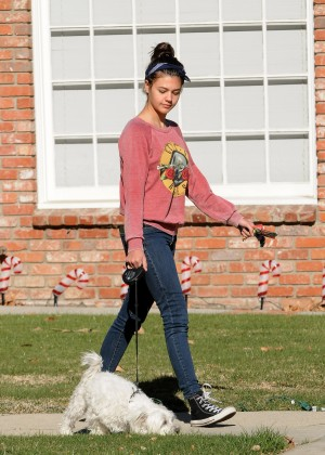 Amber Montana: Walking her dog Elvis -19