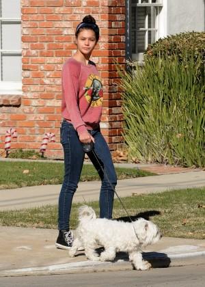Amber Montana: Walking her dog Elvis -21