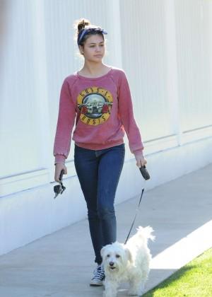 Amber Montana: Walking her dog Elvis -22