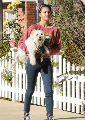 Amber Montana: Walking her dog Elvis -24