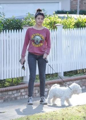Amber Montana: Walking her dog Elvis -26
