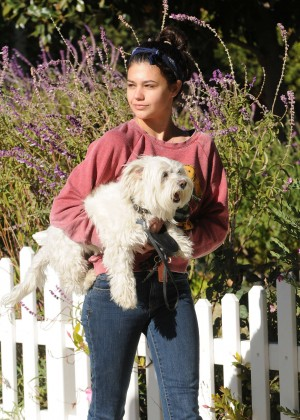 Amber Montana: Walking her dog Elvis -27