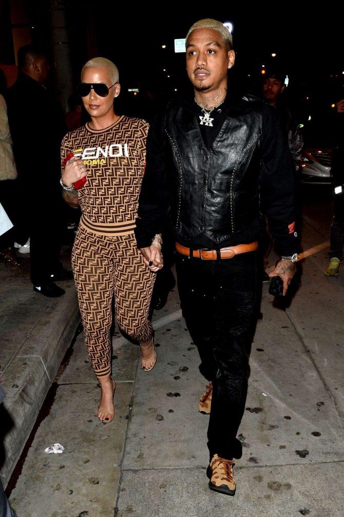 Amber Rose and Alexander Edwards - Leaving the Delilah Restaurant in West Hollywood