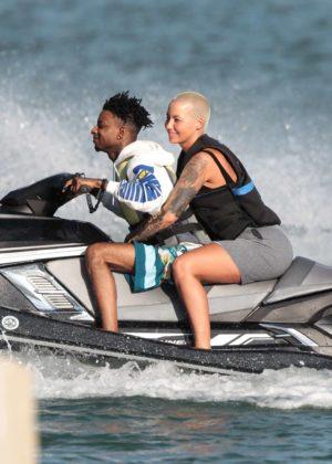 Amber Rose and boyfriend 21 Savage ride a jet ski in Miami Beach