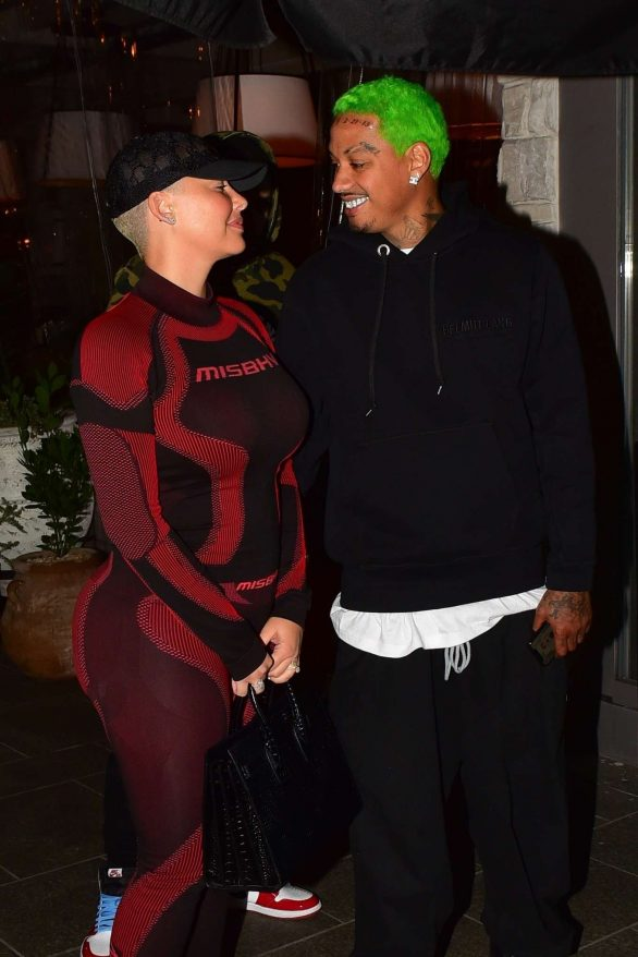 Amber Rose and boyfriend Alexander Edwards - Night Out in Beverly Hills
