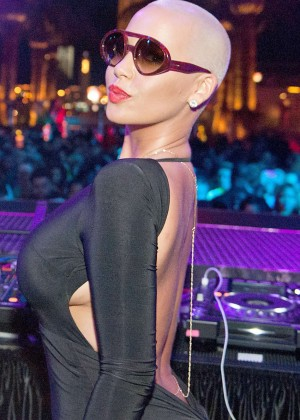 Amber Rose in Tight Dress at Drais Nightclub in Las Vegas
