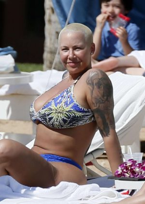 Amber Rose in Bikini at the beach in Honolulu