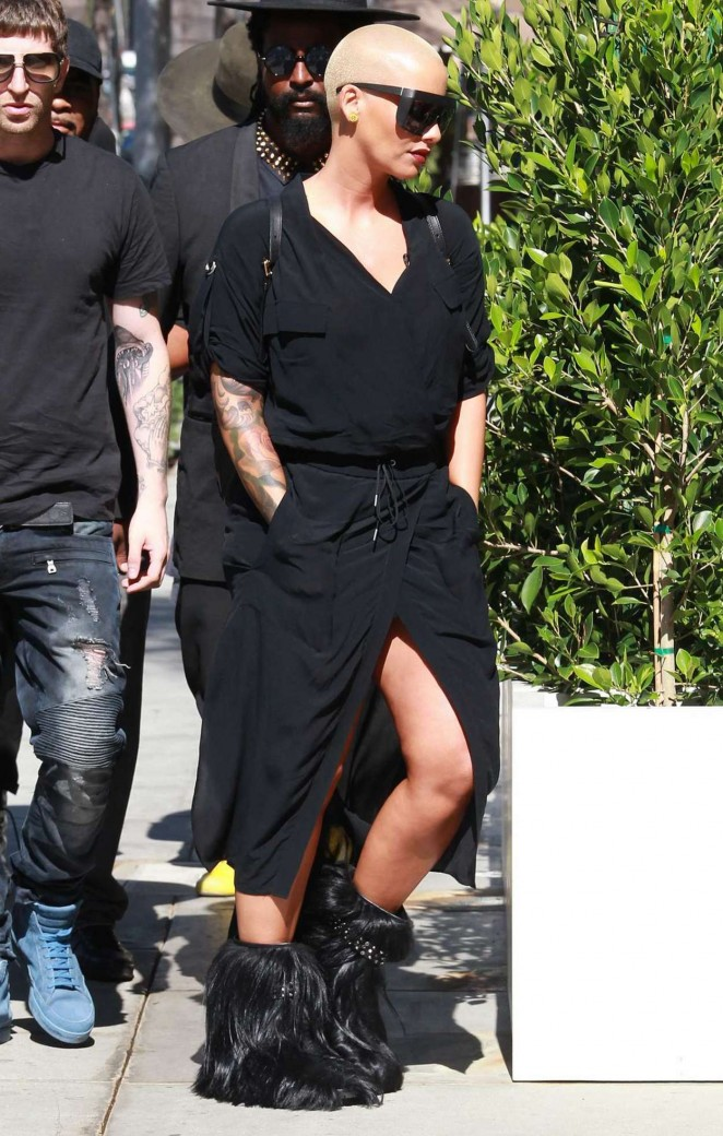 Amber Rose in Black Dress Out in Beverly Hills