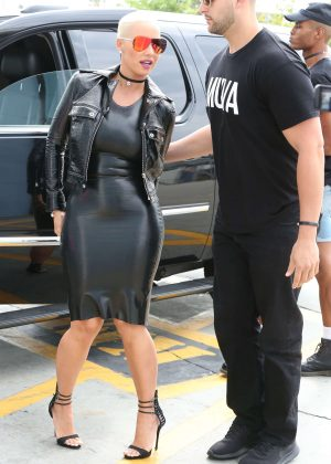 Amber Rose in Black Tight Dress out in Los Angeles