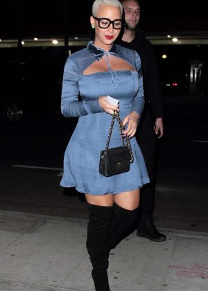 Amber Rose in Blue Dress at Deliah in Hollywood