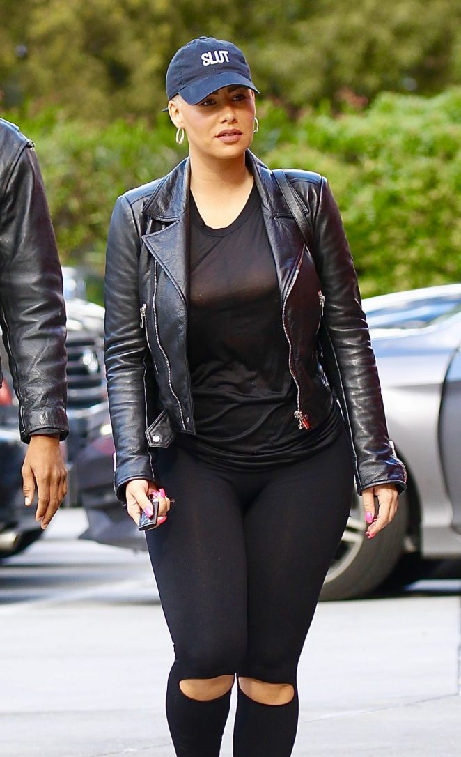 Amber Rose in Ripped Tights Out in Studio City