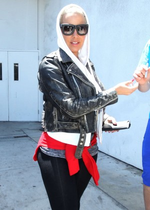 Amber Rose in Tights at LAX Airport in LA