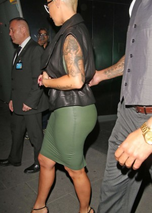 Amber Rose in Tight Dress Out in London