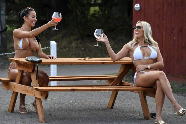 Amber Turner and Yazmin Oukhellou - The Only Way is Essex filming