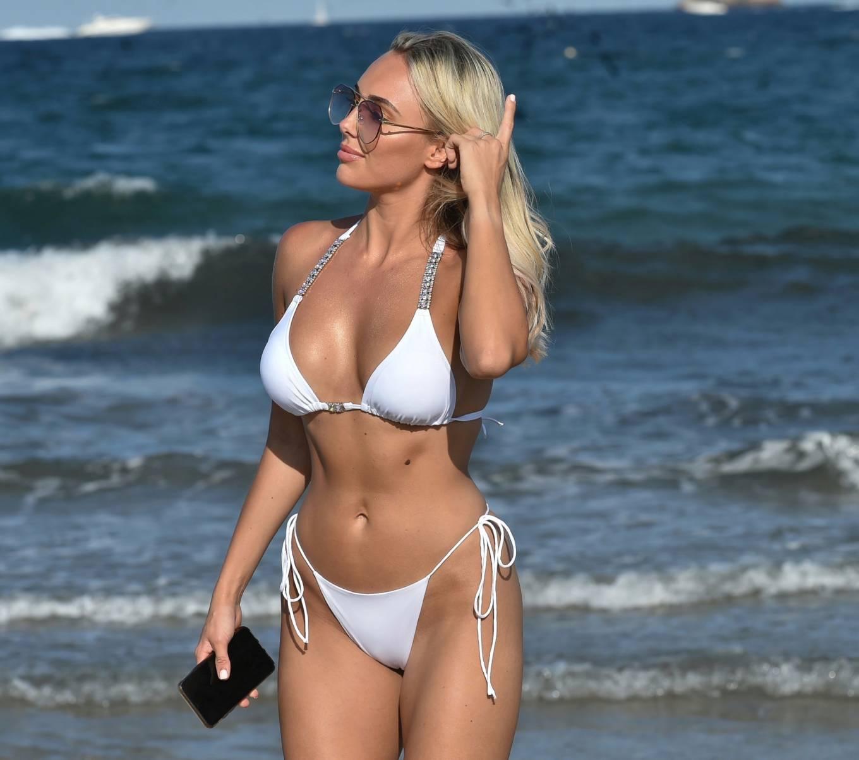 Amber Turner 2020 : Amber Turner – In white bikini on the beach in Ibiza-02