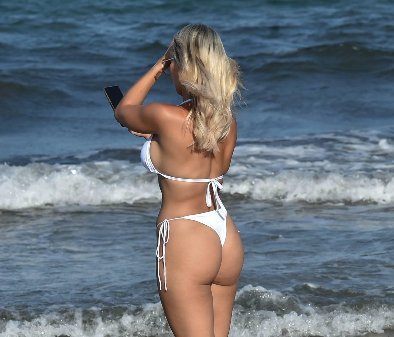 Amber Turner 2020 : Amber Turner – In white bikini on the beach in Ibiza-07