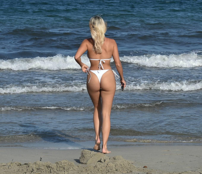 Amber Turner 2020 : Amber Turner – In white bikini on the beach in Ibiza-10