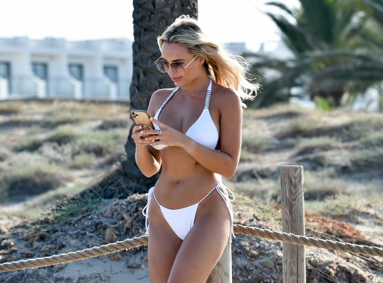 Amber Turner 2020 : Amber Turner – In white bikini on the beach in Ibiza-13