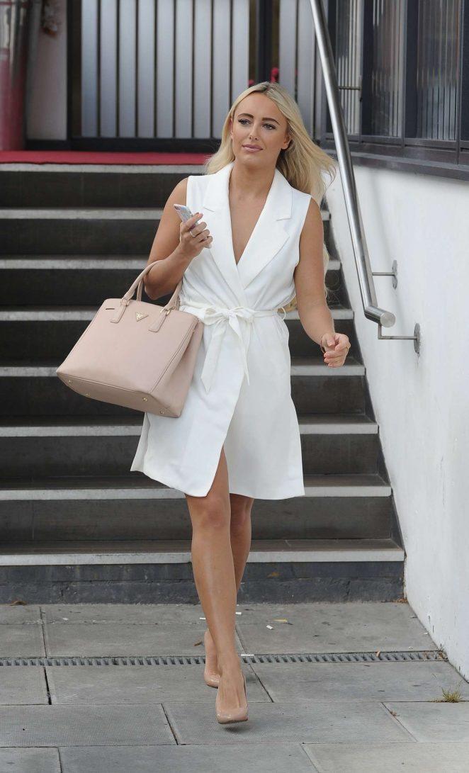 Amber Turner in White Dress at La Sala in Chigwell Essex