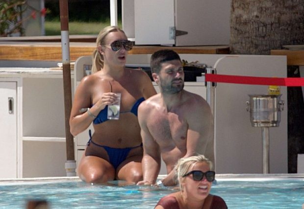 Amber Turner - Relaxing in the pool in Ibiza