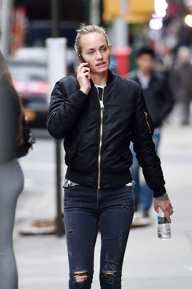 Amber Valletta in Jeans out in Manhattan