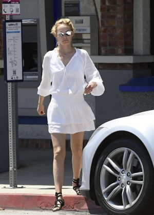 Amber Valletta in White Dress out in Los Angeles