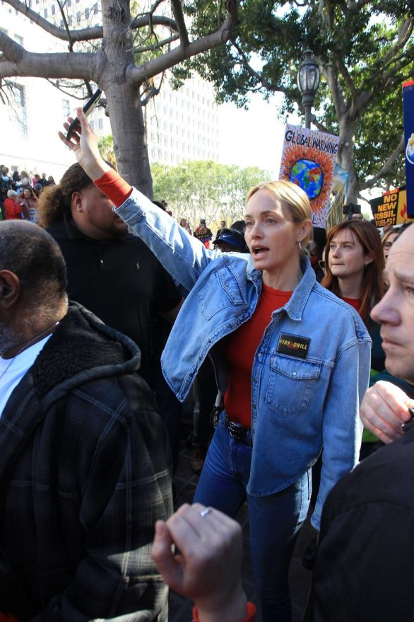 Amber Valletta with Bonnie Wright - 2020 Greenpeace during Fire Drill Fridays at City Hall in LA