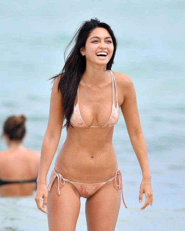 Ambra Gutierrez in Bikini on the beach in Miami