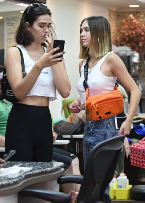 Amelia and Delilah Hamlin at a salon in Beverly Hills